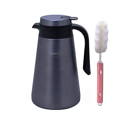 IGZOM Vakuum Edelstahl Isolierkanne-Kaffeekanne-Thermoskanne für Familie, im Freien,1.6L Dunkelgrau -
