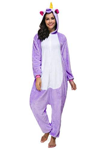 Kigurumi Pijamas Enteros Disfraz Unicornio Traje Animal Cosplay Adulto Onesie Ropa de Dormir Regalo para Carnaval Halloween Navidad (M (159-168CM), Morado)