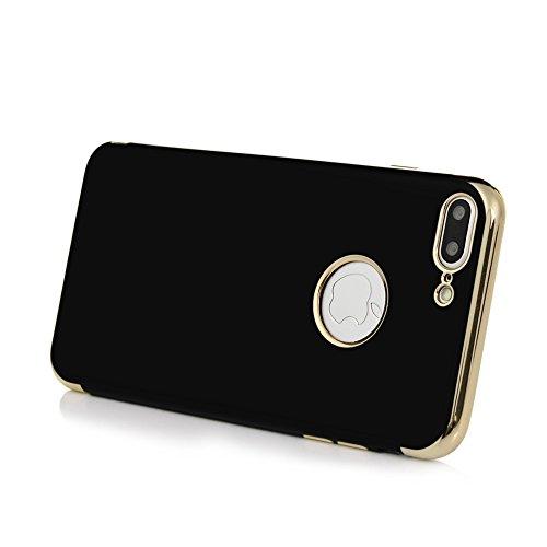 Coque iPhone 7 Plus / iPhone 8 Plus, Badalink Case Housse Bumper Coque de Protection TPU Silicone Gel Souple Flexible Ultra Mince Slim Léger Luxe Anti Rayure Antichoc Coque pour iPhone 7 Plus / iPhone Noir Or