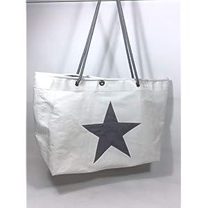 große Segeltuchtasche als Beachtasche mit grauem Stern