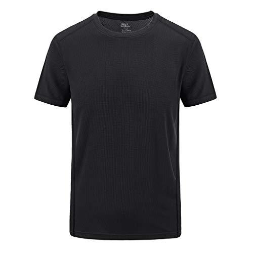 TIFIY T-Shirts Herren, Sommer Slim Fit Patchwork T-Shirt Übergröße Schnell trocken Atmungsaktiv Basic Top Lässige O Ausschnitt Sport Bluse(Schwarz,7XL)