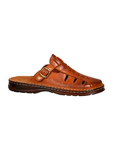 Sandali uomo in genuina pelle di bufalo ortopedici comode scarpe 801/2 (marrone, 43 eu)