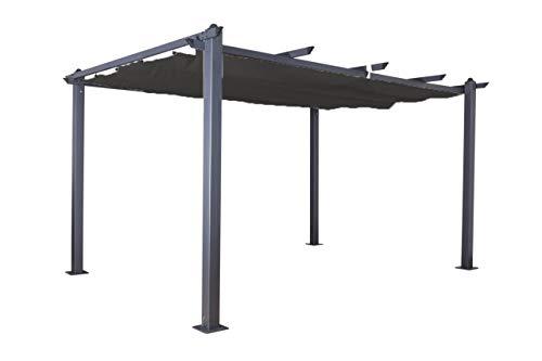 Jet-line Pavillon Pergola Überdachung 'Luxor 4 x 3 m Sonnenschutz Terrasse Garten anthrazit-anthrazit Sonnenschutz Sonnendach UV Schutz Aluminium Alu
