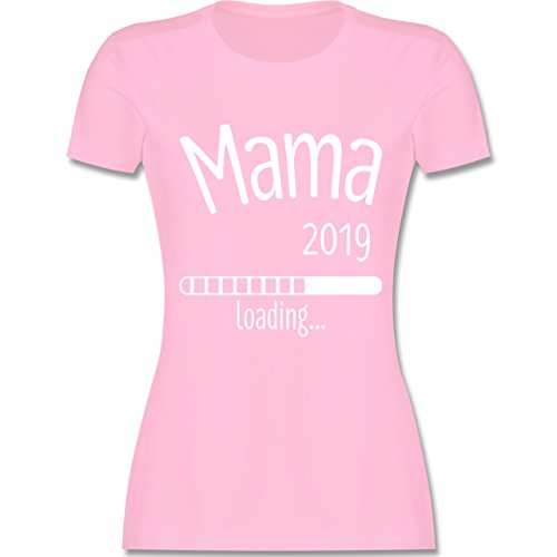 Schwangerschaft - Mama 2019 Loading - M - Rosa - L191 - Damen T-Shirt Rundhals