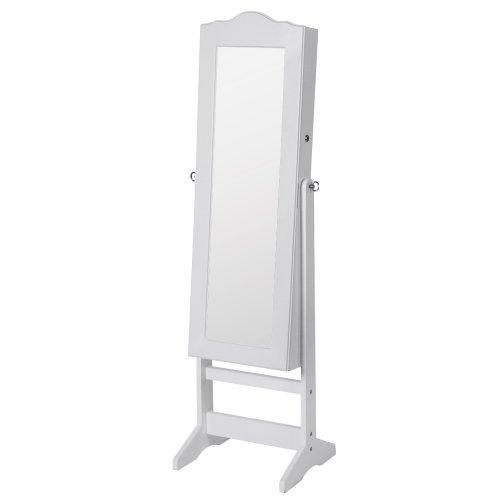 Schmuckschrank mit Spiegel I 139,5 x 40,9 x 36,5 cm, mit abschließbarer Spiegeltür, Haken für Ketten,Ohring I Spiegelschrank, Standspiegel, Schmuckregal Schmuckkommode, Schmuckaufbewahrun