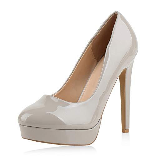 SCARPE VITA Damen Pumps High Heels Plateaupumps Lack Stiletto Elegante Schuhe 172619 Hellgrau 40 -