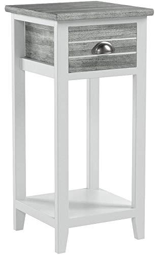 Livitat® Nachttisch Nachtschrank Nachtkonsole Nachtschränkchen Shabby Vintage LV1021 Grau