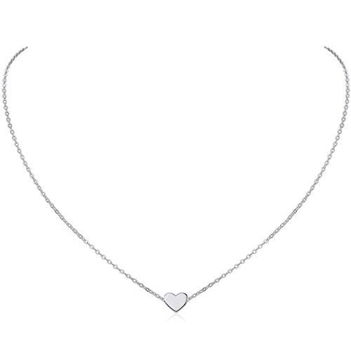 6b4b97e301f3 ChicSilver Corazón Pequeño Collar para Femenina 925 Plata de Ley Joyería  con Cadena Fina de 16