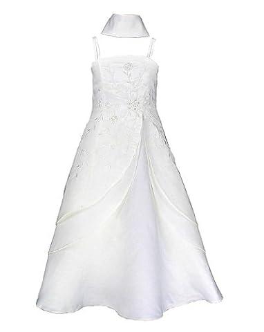 Satin Brautjungfern Anlässe Festkleid Mädchen Kleid Elfenbein Creme Gr.158/164 (I6339 -14#)