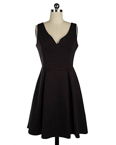 LaoZan Femmes Mini robe Cou V profond Robe Rétro Hepburn Style Chic sans manches années 50 à pois Noir