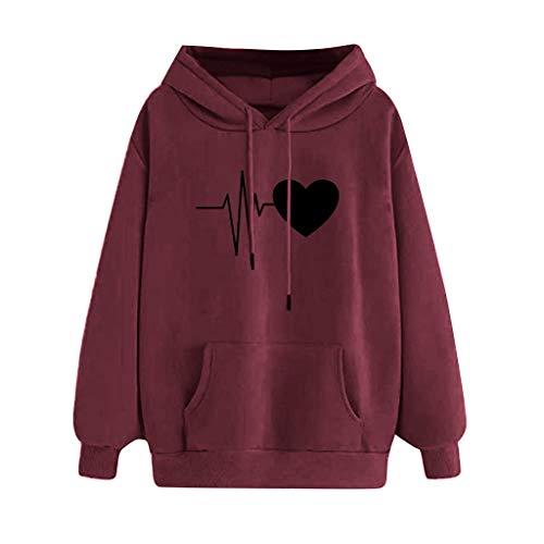 KUDICO Damen Kapuzenpullover Casual Pulli Sweatshirts Hoodie Sport Langarm Jacke Frauen Sweatjacke Pullover Outerwear mit Taschen(Wein, EU-32/CN-XS)