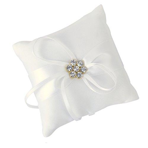Ivory Satin Diamante Blumenhochzeits Party Tasche Ring Kissen Kissen (Hochzeit Ring Aufnahmen)