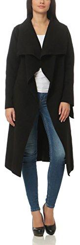 malito Damen Mantel lang mit Wasserfall-Schnitt | Trenchcoat mit Gürtel | weicher Dufflecoat | Parka �?Jacke 3040 Schwarz