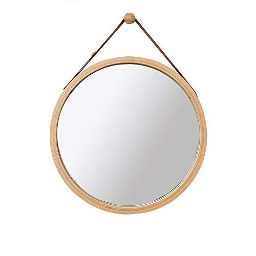 Bathroom mirror Espejo de baño Estilo nórdico montado en la Pared Marco de Madera Maciza Correa Ajustable...