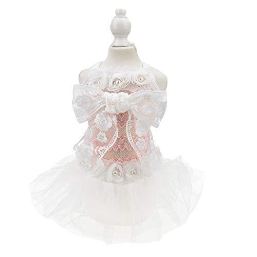 FLAdorepet Hundekleid, mit großer Schleife, für Hochzeiten, Katzen, Tutu, Rock, Party, Rosa