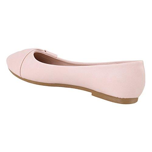 Klassische Damen Ballerinas Lederoptik Flats Freizeit Schuhe Übergrößen Rosa Knopf
