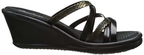 Skechers Rumblers Wild Child Damen Durchgängies Plateau Sandalen Black