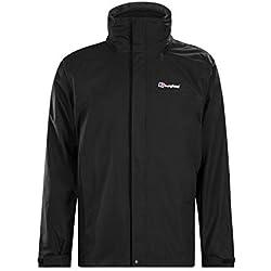 Berghaus Mens RG Alpha 3-in-1 Waterproof Jacket with Inner Fleece, Black/Black, Medium