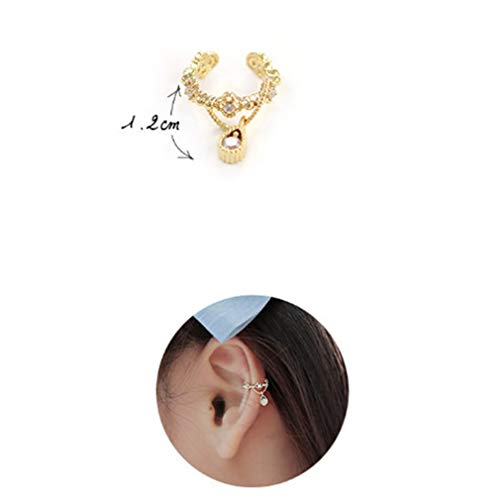 MOONRING Exquisite Style Ohrclip Ohrstulpe Ohrring Drop Anhänger Strass Ohrclip Sweet Style Ohrclip, Gold