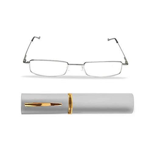 KAIBSEN® Portable Pocket Slim Reading Brille - Lightweight Unisex Edelstahl Rahmen Harz Lesebrille/Slim Pen Clip Tube Case