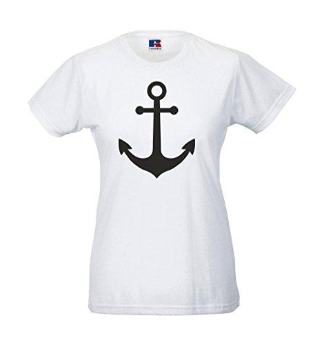 Girlie-Shirt - Anker Weiß