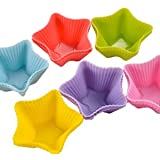 12pcs 6 Colors Star Shaped Muffin Cupcake Cake Case Silicone Moulds Bakeware