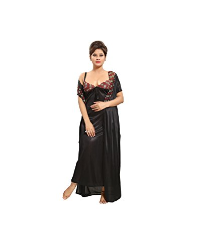Tucute-Womens-Satin-Nightwear-Set-of-6-Pcs-Nighty-Wrap-Gown-Top-Pyjama-Bra-Thong