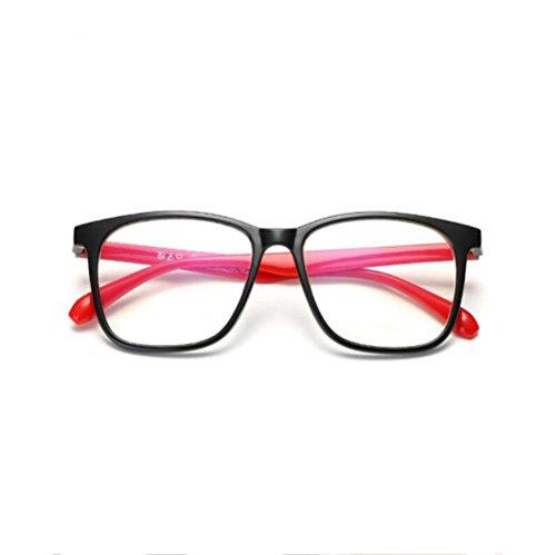 Z&YQ klar Linse Brille Flieger Spiegel Myopie Kunststoff Rahmen Retro Schutzbrillen , bright black framed red legs