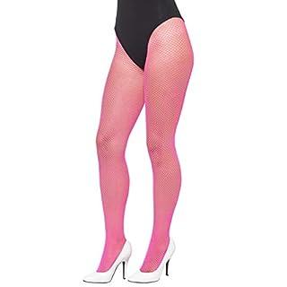 Smiffys Damen Netzstrumpfhose, One Size, Neon Pink, 44614