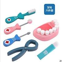 TrifyCore Kit médico Juego de rol de Papel de Dentistas de Madera Juego de imaginación Juego de Instrumentos dentales de Emulational Juguete para niños 6 Piezas / Juego