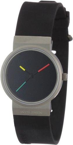 Jacob Jensen Serie Titanium 650 – Reloj de mujer de cuarzo, correa de goma color negro