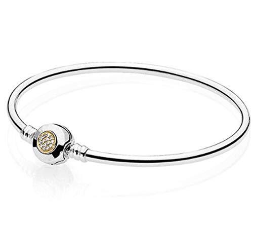 Armband,925 Sterling Silver Logo Moment Zwei - Farbe Armband Für Frauen Perlen Charme Tag'S Freunde Mutter Geschenk Zu Versenden, 20 cm