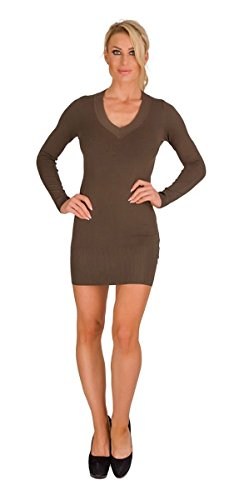 10280 Fashion4Young Damen Feinstrick-Minikleid Longpullover dress Kleid Damen Pullover V-Ausschnitt (oliv, L/XL=38/40)