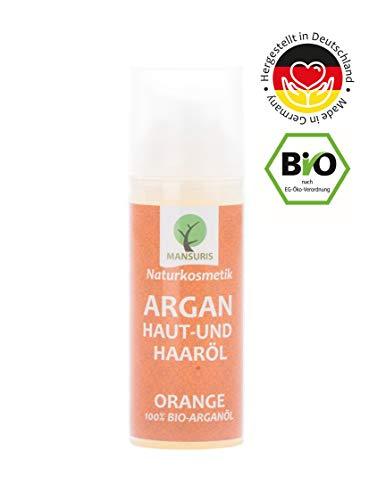 Bio Arganöl Orange | Körperöl Vegan kaltgepresst für Haare, Haut & Gesicht - 100% Naturkosmetik Körper Pflegeöl für trockene, unreine Haut & trockenes Haar, geeignet auch als Massageöl, 50 ml (Bio-arganöl Haare Für Die)