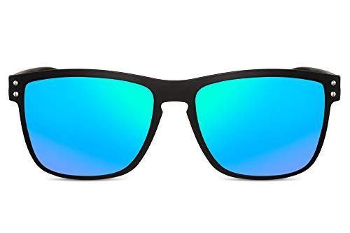 Cheapass Sonnenbrille Verspiegelt Matt-Schwarz Grün-Blau UV-400 Sport-lich Outdoor Plastik Herren