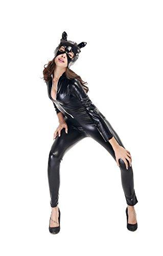 SEXY-MAN Catwoman Kostüm Cat Woman Damen Catwoman Kostüm Katze Cosplay Jumpsuit für Fasching Halloween Karneval Cosplay, L (Frauen Katze Für Halloween-kostüme)