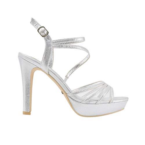 Sandalo con plateau tacco 120 in tessuto argento con cinturino alla caviglia speciale cerimonia e sottopiede in pelle ss19 (37 eu)