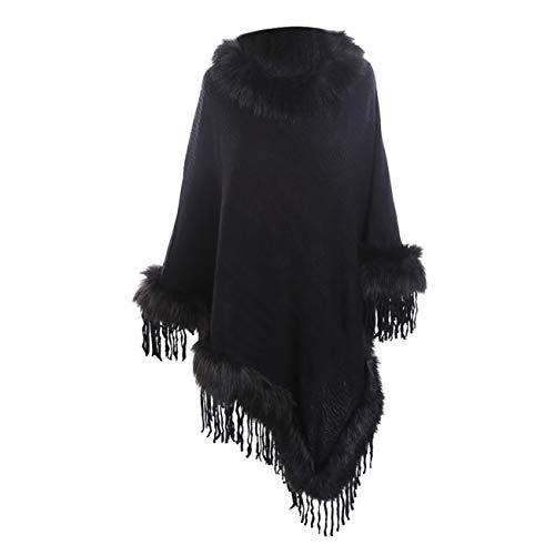 Scialli stole donna elegante cerimonia sciarpa di scialle di cashmere con frange e collo in pelliccia di lana tinta unita casual moda caldi (taglia unica, nero)
