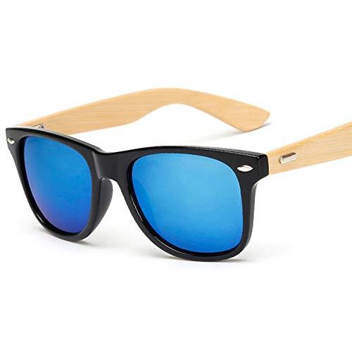 JYTDSA Sonnenbrille Männer Frauen Quadrat Bambus Frauen für Frauen Männer Spiegel Sonnenbrille handgefertigt