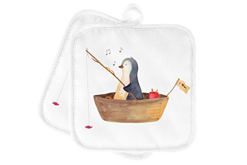 Mr. & Mrs. Panda Küche, Topflappen Set, 2er Set Topflappen Pinguin Angelboot - Farbe Weiß