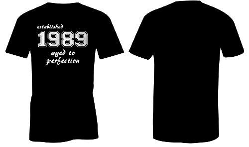Established 1989 aged to perfection ★ Rundhals-T-Shirt Männer-Herren ★ hochwertig bedruckt mit lustigem Spruch ★ Die perfekte Geschenk-Idee (01) schwarz