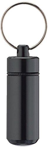 Ganzoo Pillen-Dose, Pillen-Box, Aluminium-Kapsel, Schlüssel-Anhänger mini, wasserdicht, Farbe: schwarz, Höhe: 45mm