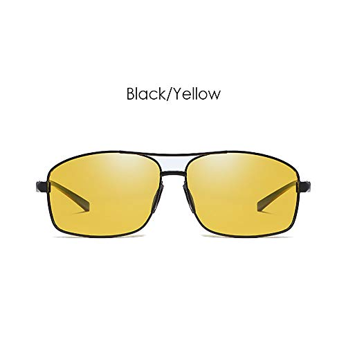 LDQLSQ Men es and Women es Metal Polarized Sunglasses Classic Anti-Glare Square 2458 Driving Sunglasses Driving Mirror Unisex Uv400,Yellow