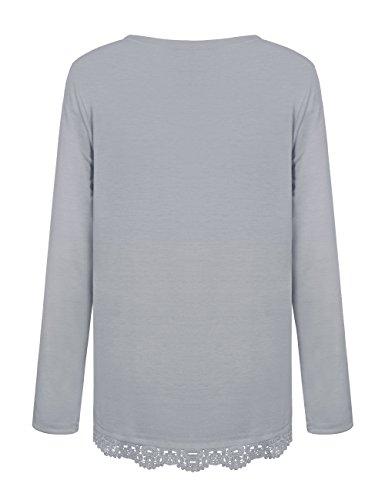 Damen Langarm Spitze Hemd Rundhals Tops Shirt Bluse Loose Casual Bluse Oberteil Herbst Langarmshirt Grau
