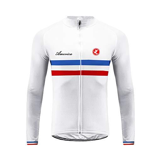 Uglyfrog Bike Wear Magliette Uomo Manica lunga Primavera &Autunno Ciclismo Top Traspirante/Slittata/Cerniera Completa/Striscia Riflettente Triathlon Abbigliamento