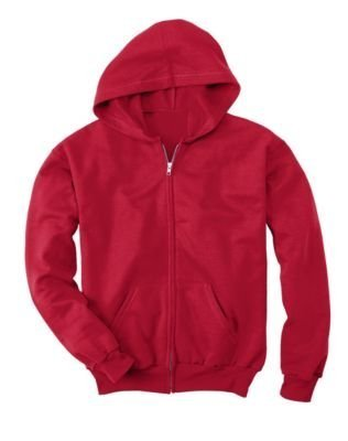 Hanes Comfortblend EcoSmart Full-Zip Hoodie Sweatshirt, Deep Red, Youth XS