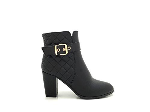 CHIC NANA Chaussure femme bottine à talon, en similicuir matelassé.