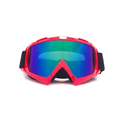 Bishilin Motorradbrille Winddicht Schneebrille Brillenträger Sicherheitsbrille Damen Rot Multicolor Schutzbrille