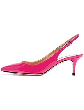 EDEFS - Donna Scarpe col Tacco Gattino - Stiletto tacco 6.5 CM - Mid Heel Scarpe con cinturino dietro la caviglia