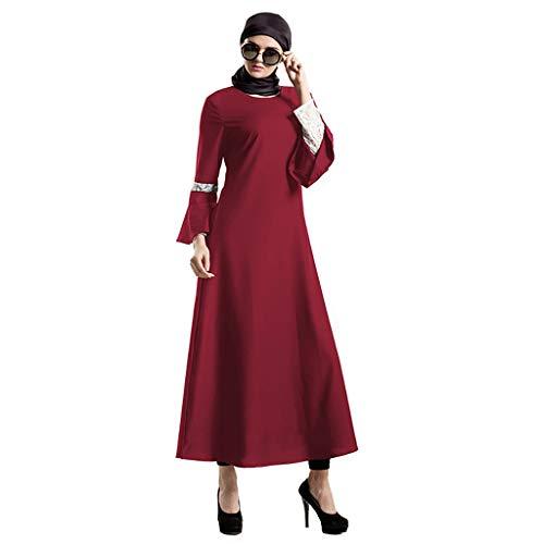 (LHWY Sommerkleid Damen Elegant Fee üBernatüRliche Muslimische Kleid Elegantes Kleid Spitze Pastell Muslimischen Kleid Lang Maxikleid Vintage)